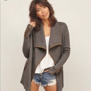 A&F Waterfall Cardigan Sweater Faux Suede Trim SM